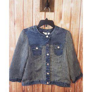 Chicos Denim Jacket Tweed Button Up Pockets Size 1